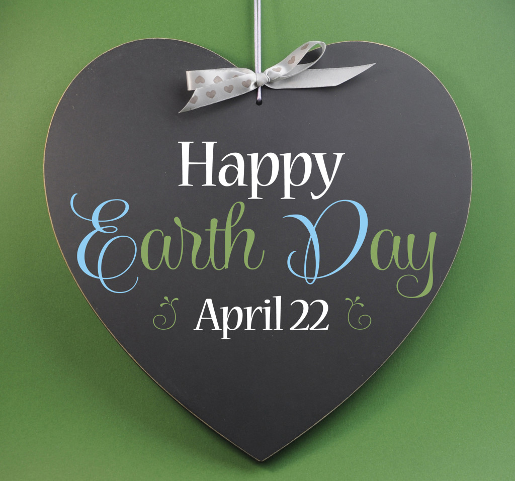 Happy Earth Day April 22, Message Sign Greeting On A Heart Shape
