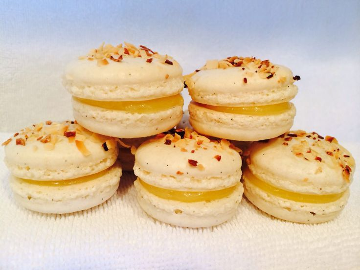 Toasted Coconut Macarons with Lemon Curd