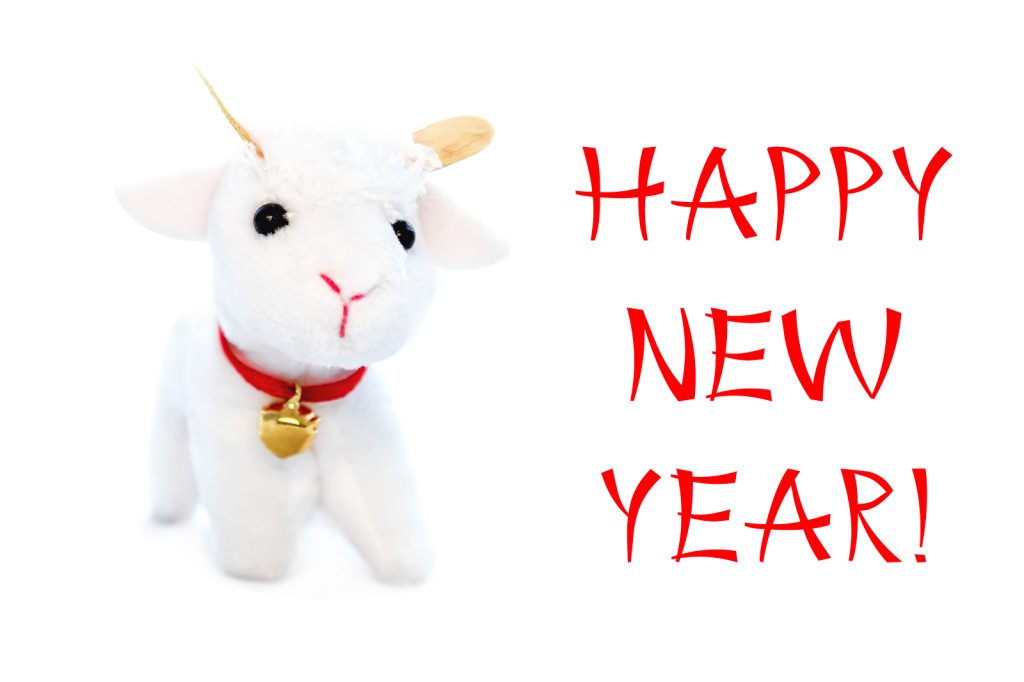 New Year Greeting Card Or Postcard With Goat