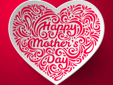 Mothers Day background with three dimensional heart shape